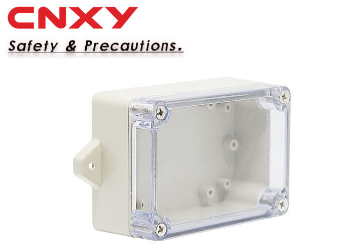 0.1 Kg Flanged Plastic Box , Clear Waterproof Enclosure ABS Material